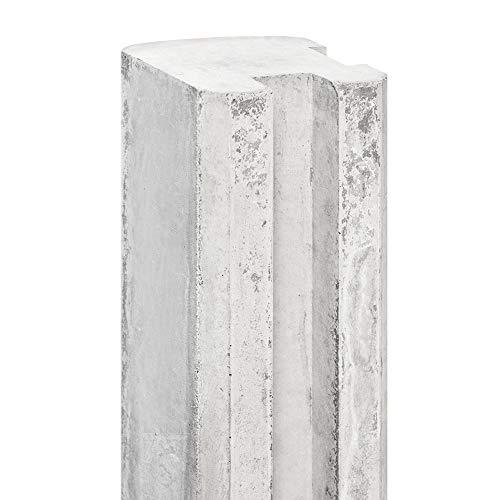 Betmar Betonzaun Zaunpfosten aus hochfestem C80/95 Beton mit Nut - Eckpfosten - einfache Montage - Bauhöhe 180cm - Grau