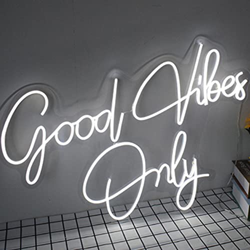 HSART 23,6 PULG Good Vibes Only Luz de letreros de neón LED Lámparas de Pared de Arte Luces de Ambiente de Bar,Decoración navideña
