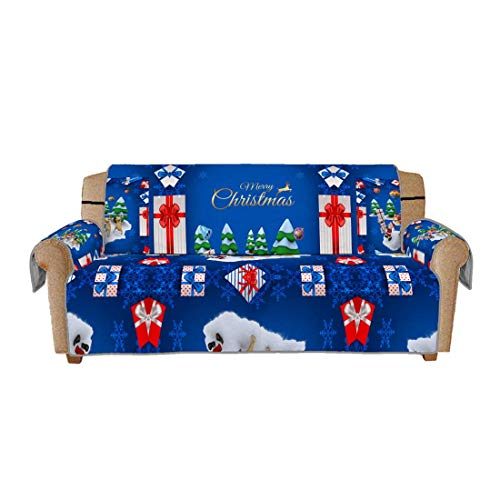 Protector navideño para Muebles, Cojín de poliéster para sofá, Fundas Protectoras con impresión Digital 3D, Asiento Antideslizante para Tres Asientos (168x180cm