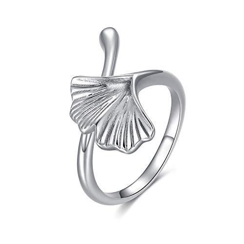 S925 Sterling Silber Vintage Ginkgo Leaf Ring verstellbar weiß plattiert offenen Ring Schmuck für Frauen Mädchen Liebhaber Geburtstagsgeschenke (54 (17.2))