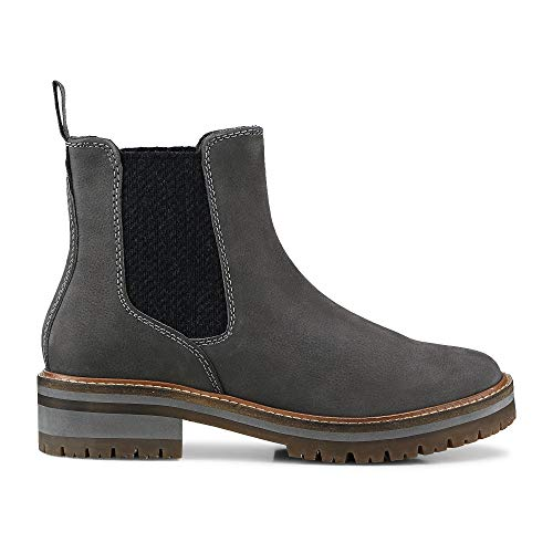 Cox Damen Chelsea-Boots aus Leder, Stiefeletten in Grau mit Innenfutter aus Fleece und robuster Laufsohle Grau Leder 38