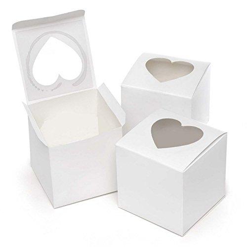 50pz Scatola Bianca Con Finestra Trasparente PVC Forma Cuore Porta Dolce Regalo Confetti 7.6 * 7.6 * 7.6cm