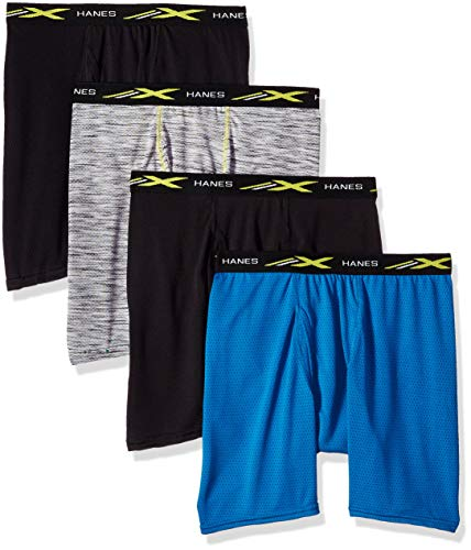 Hanes Men's X-Temp Lightweight Mesh Space Dye Boxer Brief 4-Pack, assorted colors may vary, X Large