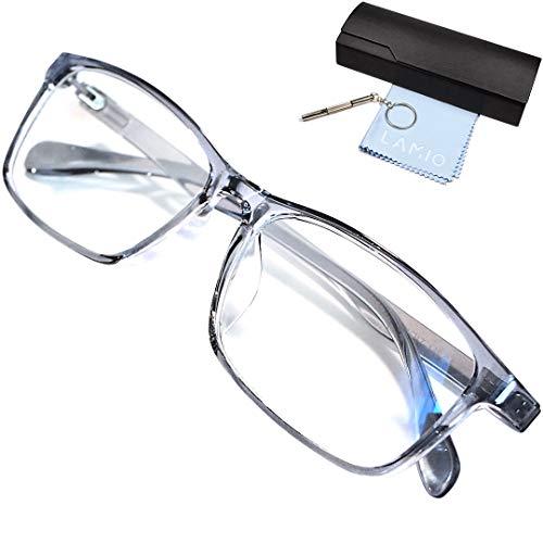 LAMIO ブルーライトカット メガネ PCメガネ パソコン用メガネ pc メガネ ブルーライト UVカット 紫外線カット ウェリントン 男女兼用 度なし(クリアグレー)