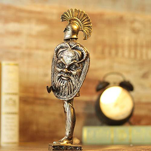 YUELI Moderne Statue Skulptur Retro Rom Rüstung Krieger Ares Mars Statue Mittelalterliche Samurai Rüstung Figur Skulptur Harz Handwerk Home Dekoration, Gelb