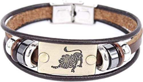 Montebello Pulseras de león – Cuero – Latón – Acero – Horóscopo – 19 cm