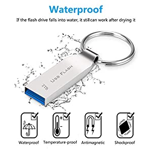 Muhoop Flash Drive 2TB Waterproof USB 3.0 Memory Stick Metal USB Drive with Keyring Portable Thumb Drive for PC/Laptop…