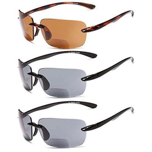 Gamma Ray Bifocal Sunglasses Reader - 3 Pairs Sun Reader Sport Sunglasses 1.50
