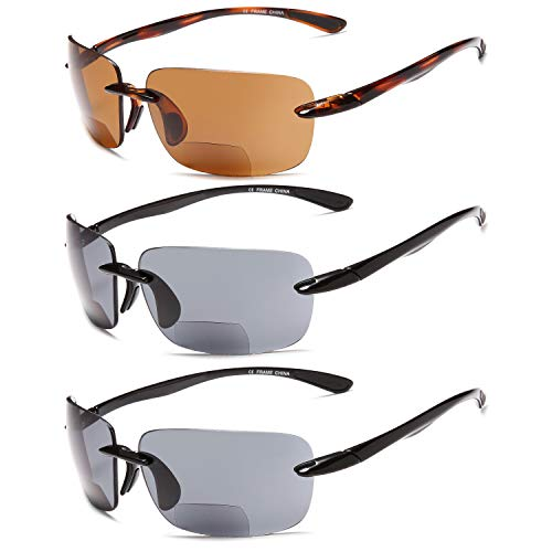 Gamma Ray Bifocal Sunglasses Reader - 3 Pairs Sun Reader Sport Sunglasses 2.00