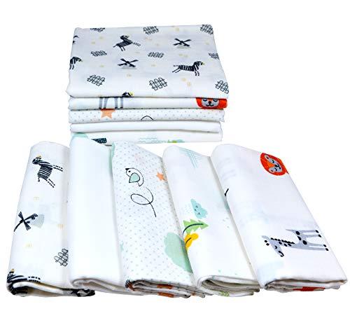 Pañales de gasa 10 unidades Mix   Paños para vómitos bebé   Pañales de tela 80 x 70 cm   Paños de gasa absorbentes   Öko-Tex (set unisex de animales)