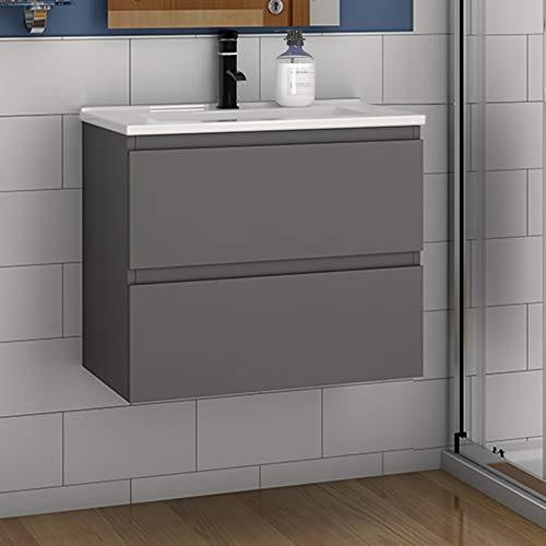 Badmöbel Set 60 cm Aalst Vormontieren Keramikbecken mit Unterschrank Waschtisch Anthrazit