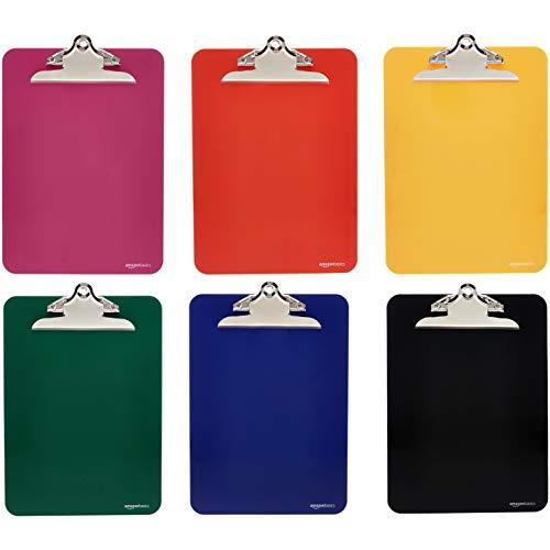 Amazon Basics Klemmbretter, Kunststoff, mit Metallklemme, verschiedene Farben, 6 Stück