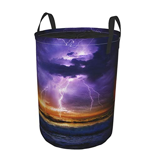 JOSENI Collapsible Large Clothes Hamper for Household,Sky Light,Storage Bin Laundry Basket Waterproof with Drawstring,16.5' x 21.6'
