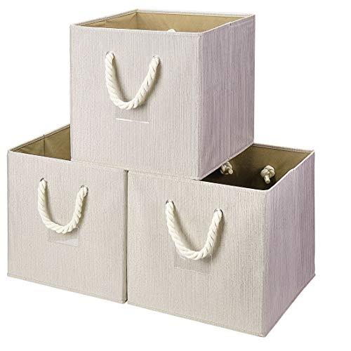 i BKGOO Juego de 3 Cubos de Tela Plegables Para Almacenamiento, Organizador...
