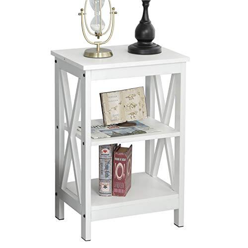 sogesfurniture Vintage Beistelltisch Nachttisch Nachtkonsole mit 2 Ablagen, Stabil Ablagetisch Telefontisch mit Metallgestell, 40x30x60cm, Weiß BHEU-DX-240A-W