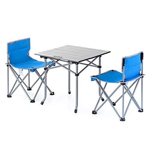 Reeamy-Home Table Pliable Léger extérieur Camp Portable Table Pliante Net Chaises Set w/Sac de Transport, chaises + Table Taille compacte for Le Camping (Color : Blue, Size : 4 Chairs)