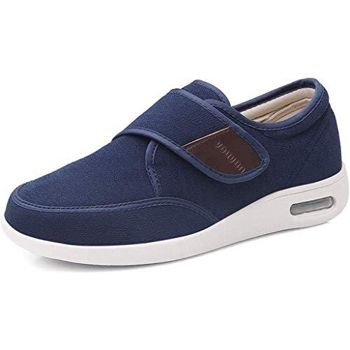 Zapatillas De Edema De Mujer, Zapatos De Diabetes De Invierno Zapatillas Para Caminar Ajustables Cojín De Aire Sin Deslizamiento Zapatillas Diabéticas Calientes,Azul,37