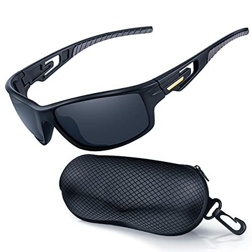 Goiteia Polarisierte Sonnenbrille Radsportbrille Herren Damen mit UV400 Schutz- Sportsonnenbrille zum Radfahren Autofahren Laufen Wandern Angeln Unzerbrechlicher Leichter TR90 Rahmen (Schwarz)