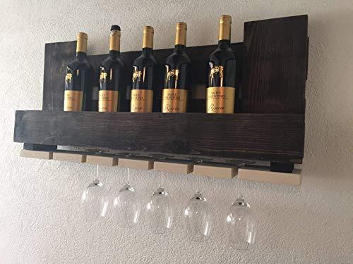 """Weinregal Palettenmöbel """"Ferrara"""" aus Paletten Weinregal, Küchenregal, Gewürzregal mit Glashalter Handgefertigt"""