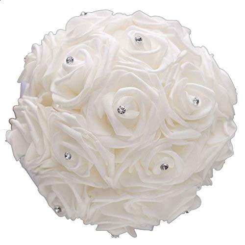 Jzhen Romantico Bouquet da Sposa Nozze,Wedding Bouquet,Rose Bouquet(Bianco)