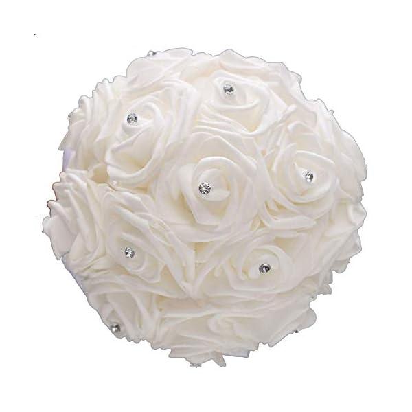 XLKJ Bouquet Nupcial de Novia de la Boda, Ramo de la Boda Ramos de Estilo Coreano Falsas Flores Artificiales Rosadas de…