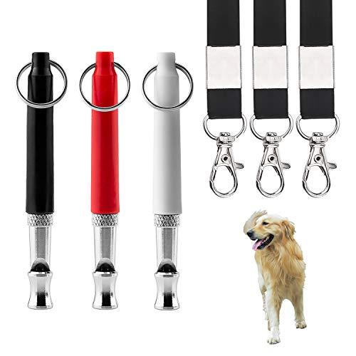 LUTER 3pcs SilbatoultrasonidoparaPerros, Silbato Ajustable Profesional de Entrenamiento ultrasónico para Perros y Control de ladridos silencioso para Perros con 3 Cuerdas
