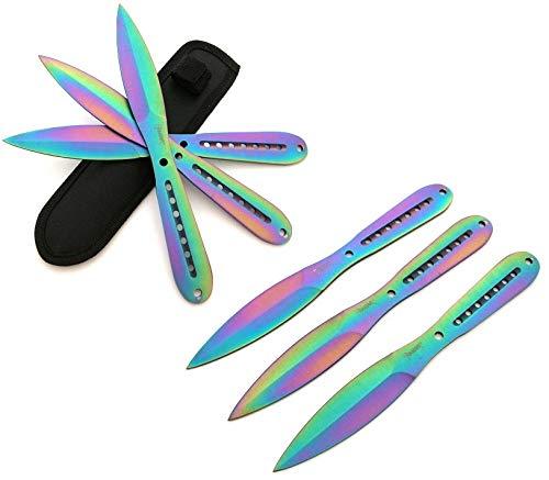 KOSxBO® 6 teiliges Messer Set Flipflop Rainbow Trainingsmesser 22,5cm Wurfmesser Set - Wurfdolch 22,5 cm - Freizeit Outdoor Prepper Survivalmesser inklusive 2 Holster Hunting Knife Throwing Knives