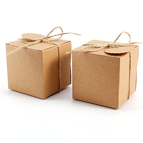 100 Stück Kraftpapier Geschenkbox 7x7x7cm Geschenkschachtel Geschenkverpackung Gastgeschenk mit Geschenkanhänger Gift Tags Papieretiketten Hochzeit Tischdeko (100)