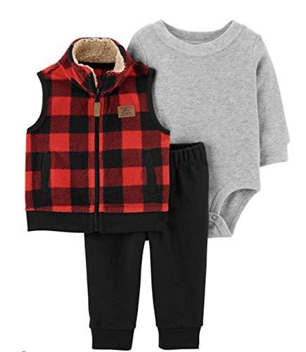 Carter's Baby Boys' 3 Piece Plaid Patch Little Vest Set 6 Months,Red