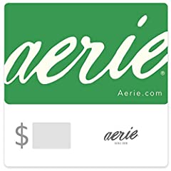 Aerie is a perfect way to share the love of pretty lingerie and apparel that comes at great prices. Shop over 130 locations and at aerie.com. Your E-Gift Card number may be used to purchase any merchandise on-line at aerie.com, at any American Eagle ...