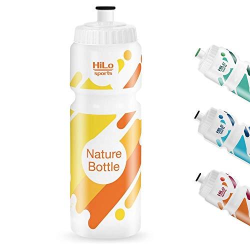HiLo sports Nature Bottle – Botella de deporte sin BPA – 750 ml (blanco, amarillo, 750 ml)