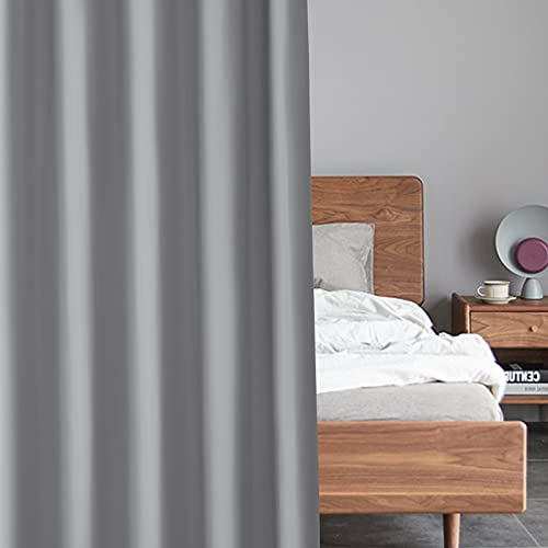 EDILLY 100% Blackout Curtains 63inch Length for Bedroom, Thermal Insulated Window Shade,Noise Reducing Curtains, Full Shade Curtain 2 Panels, Classic Grommet Top, W52 x L63,Grey Curtains