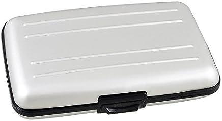 DealMux Kunststoff-Legierung Kredit-ID-Visitenkarte-Kasten-Kasten 6 Taschen, Silber Ton