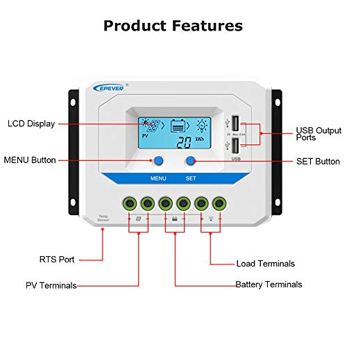 EPEVER 60A Solar Charge Controller 12V/24V/36V/48V Auto Working PWM Solar Panel Charge Regulator with LCD Display and Powerful Dual USB Output