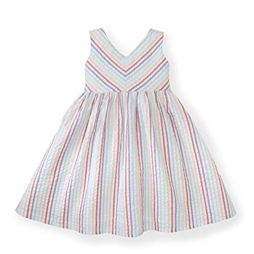 Hope & Henry Girls' Pink and Blue Striped Seersucker Swing Dress