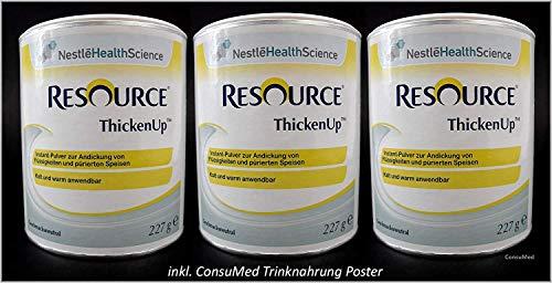 3x 227g ThickenUp von Nestle Health Science Andickungsmittel – Andickungspulver – im exclusiven ConsuMed Bundle mit Nahrungergänzungsmittel Übersicht im DIN A3 Posterformat