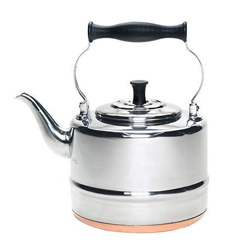 BonJour Tea Stainless Steel and Copper-Base Gooseneck Teapot/Teakettle/Stovetop Kettle, 2 Quart,...