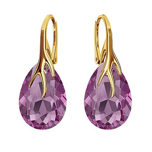 Beforya Paris - Orecchini a pera, placcati in oro 24 K, in argento 925, molti colori - Splendidi orecchini da donna con cristalli Swarovski, con confezione regalo PIN/75