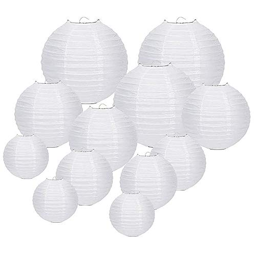 FullBerg ® 12er Weiße Papier Laterne Lampions ( Verschiedene Größen ) rund Lampenschirm Hochtzeit Dekoration Papierlaterne
