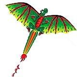 Bescita2 Groß Drachen Drachen für Kinder ab 5 Jahren Einleiner Drachen 140 x 70 cm mit langem Schwanz - 100m Kite Schnur Buntes Drachenspielzeug Outdoor Erwachsene Kinder Aktivitäten Spiele Spielzeug
