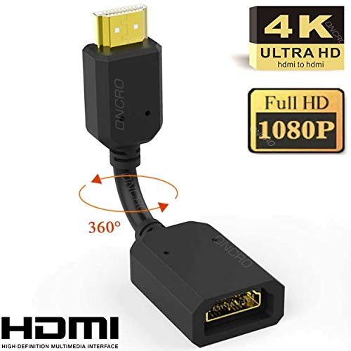 ONCRO® 10 cm HDMI Extender HDMI Extension Cable, High Speed HDMI Male to Female Adaptor Converter Support 4K & 3D 1080P for Google Chrome Cast, Fire Stick, TV Stick, PS3/4,Xbox360,Laptop,LED,PC