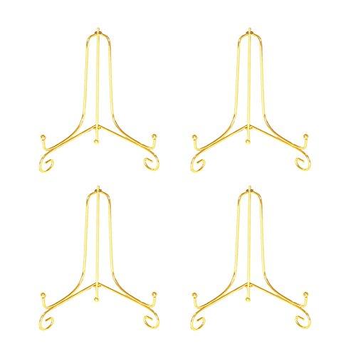 Tincogo (4 Stück) Eisen Teller Ständer,Gold Eisen Staffelei Teller Display Foto Halter Ständer für Kekse,dekorative Teller und Kunst 4 Zoll
