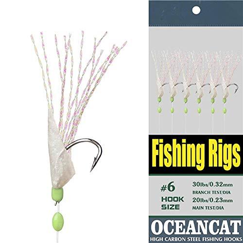 10 Packs Fishing Rigs Rainbow Fish Skin 6 Hooks Saltwater String Hook Fishing Lure Bait Rig Tackle (8#, 10 Packs)
