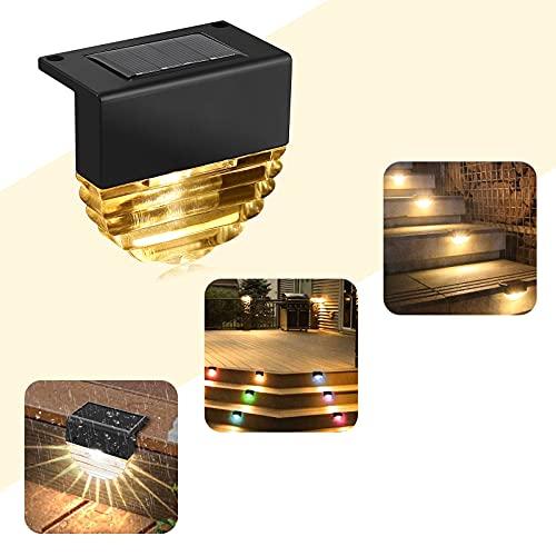 Luz Solar para Escalones, Colorlam Luces LED Solares paraCubierta 2 Modos Luz Blanco Cálido Cambio de Color IP65 Impermeable Lámparas Solares para Barandillas Terraza Escaleras Decoraciones de Jardín
