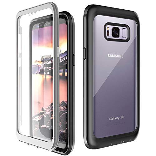 Temdan Kompatibel mit Samsung Galaxy S8 Hülle, Transparent Stoßfest Bumper 360 R&umschutz Hülle mit Eingebautem Bildschirmschutz Handyhülle für Samsung Galaxy S8 5,8 Zoll Schwarz/Grau+ Klar