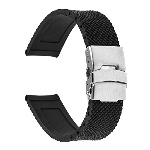 TRUMiRR 22mm Silikon-Gummi-Uhrenarmband Edelstahl-Wölbung Armband-Bügel kompatibel für Samsung Galaxy Watch 46mm, Gear S3 Classic Frontier, LG Urbane W150, Huawei GT