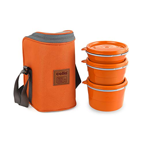 Cello Max Fresh Hot Wave Lunch Box Inner Steel, Orange, (Capacity - 225ml, 375ml & 550ml)