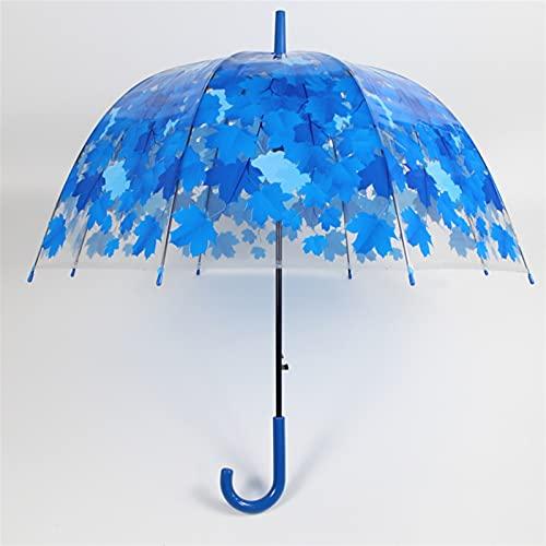 OUBALA Transparenter Regenschirm Kleiner klarer Langer Griff transparenter Regenschirm Backen-Lack-Regenschirm-Originalität Ahornblätter Regenschirm (Color : 4)