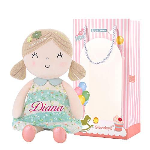Gloveleya Customized Baby Puppe Rag Spielzeug für Mädchen Puppen für 1 2 3 Jahre Mädchen Geschenke 40CM grün