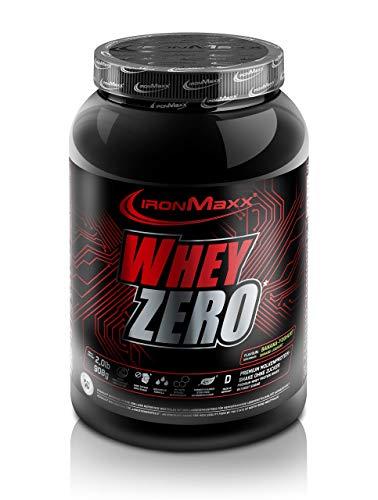 IronMaxx Whey Zero Protein, Banane-Joghurt – Molkenprotein mit 97 % Whey Anteil – Zuckerfreies Protein Isolat für den Muskelaufbau – 1 x 908 g Pulver